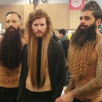 Ta tendo barbudos com tranças, cachos e mechas californianas em evento de beleza na frança
